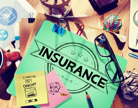 medium group of object: Insurance Benefits Protection Risk Security Service Concept