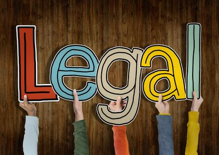 principled: Legal Approve Wooden Wall Hands Up Hold Concept Stock Photo