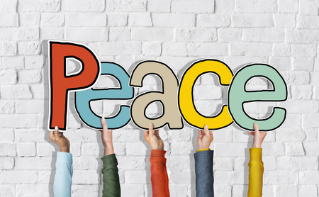 untroubled: Group of Diverse Peoples Hands Holding Peace Stock Photo