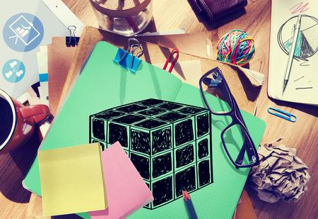 design tools: Cube Dice Dimension Logic Mind Thinking Concept Stock Photo