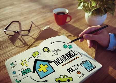 human health: Businessman Insurance Policy Risk Assesment Concept Stock Photo