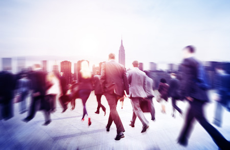 Business People Walking Commuter Travel Motion City Concept Imagens
