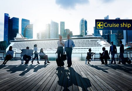 business travel: Business Travel People Commuter Walking Rush Hour Concept Stock Photo