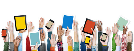 diverse hands: Diverse Hands Holding Digital Devices