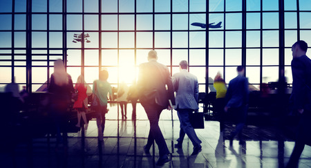 rushing hour: Business People Rushing Walking Plane Travel Concept Stock Photo