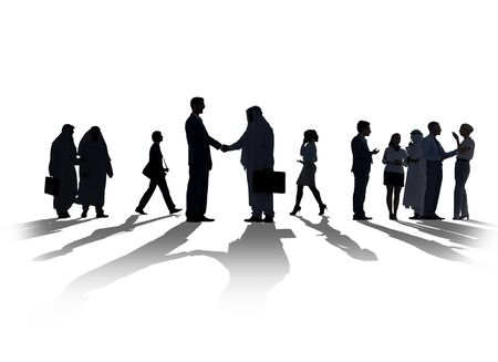 personas saludandose: Silueta De Negocios Discusión Comunicación Saludo Handshake Concepto