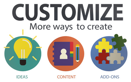 personalize: Customize Ideas Identity Individuality Innovation Personalize Concept Stock Photo