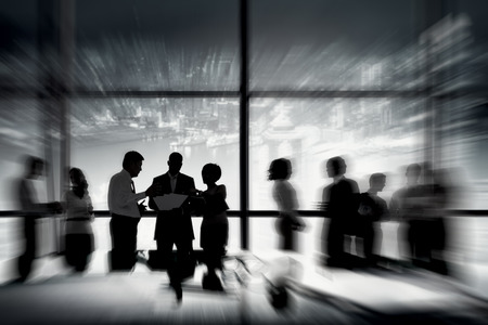 conference room meeting: Silhouettes of Business People Working