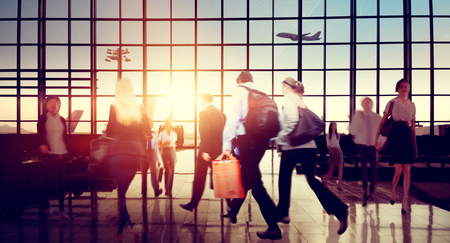 crowded: Airport Business Travel Walking Commuting Concept Stock Photo