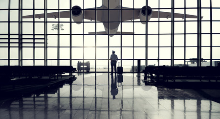 Pilot Airport Terminal Waiting Standing Alone Travel Concept photo