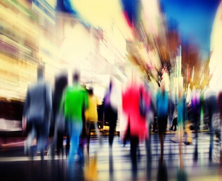 hustle: Business People Rush Hour Walking Commuting City Concept