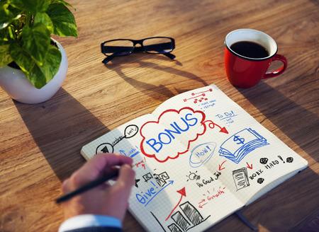 salary: Working Notepad Bonus Salary Growth Success Promotion Concept