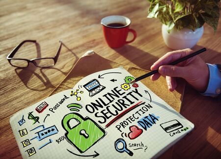 online security: Online Security Protection Internet Safety Businessman Writing Concept
