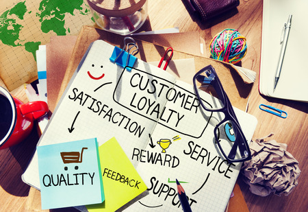 excellent service: Customer Loyalty Satisfaction Support Strategy Concept Stock Photo