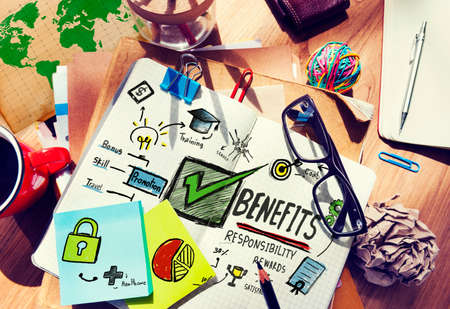 earning: Benefits Gain Profit Earning Income Office Desk Concept Stock Photo