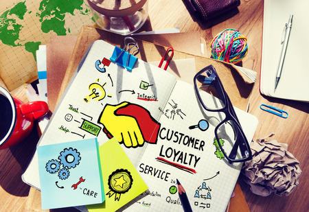 excellent service: Customer Loyalty Service Support Care Trust Tools Concept Stock Photo