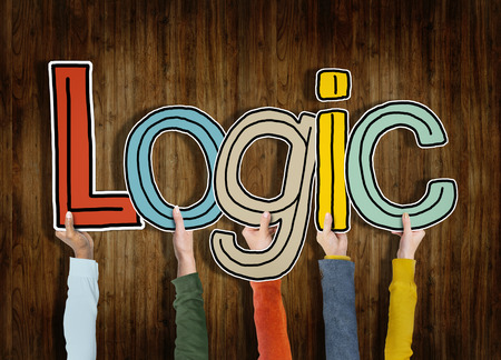 logically: Logic Reason Thought Arms Holding Wooden Wall Concept Stock Photo