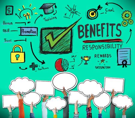 green check mark: Benefits Responsibility Rewards Goal Skill Satisfaction Concept