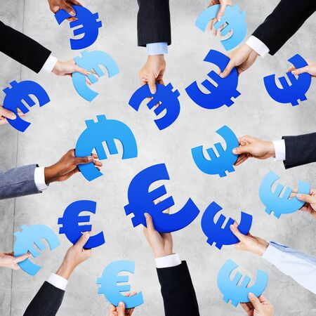 currency symbol: Group of Hands Holding European Currency Symbol