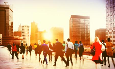business district: Commuter Business District Walking Corporate Cityscape Concept Stock Photo