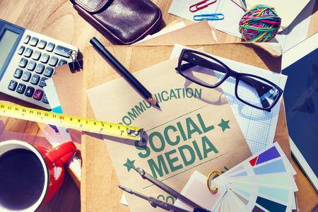 ソーシャル メディア通信接続ネットワーク概念 写真素材