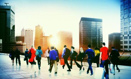 hustle: Commuter Business District Walking Corporate Cityscape Concept Stock Photo
