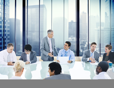 lider: Concepto Gente de negocios Conferencia de reuniones Salón Líder Foto de archivo