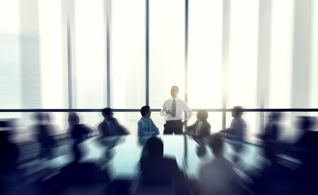 leadership: The leader of the business people giving a speech in a conference room. Stock Photo