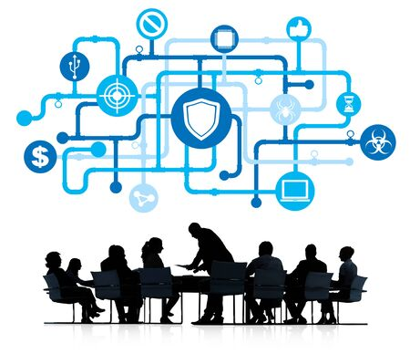 antivirus: Silhouette of business Working and Antivirus Concept