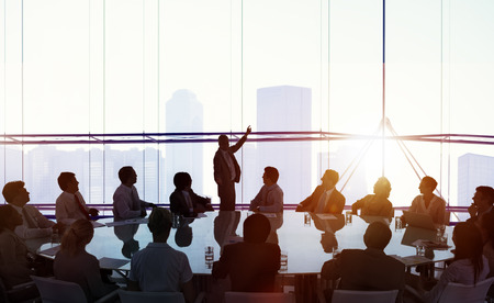 other keywords: Silhouette Business People Conference Cityscape Concept Stock Photo