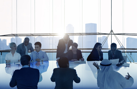 reuniones empresariales: Gente de negocios Reunión Paisaje urbano Team Concept Foto de archivo
