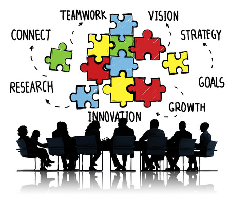 partnership strategy: Teamwork Team Connection Strategy Partnership Support Puzzle Concept Stock Photo