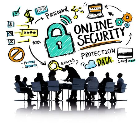 online security: Online Security Protection Internet Safety Business Meeting Concept