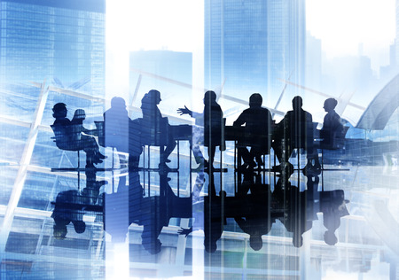reunion de trabajo: Gente de negocios Corporate Meeting Paisaje urbano Concepto Profesional Foto de archivo