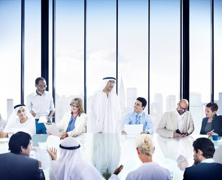 corporate meeting: Business People Corporate Meeting Presentation Communication Diversity Concept Stock Photo