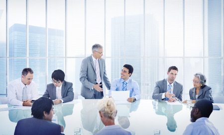 business table: Business People Corporate Meeting Presentation Communication Diversity Concept Stock Photo