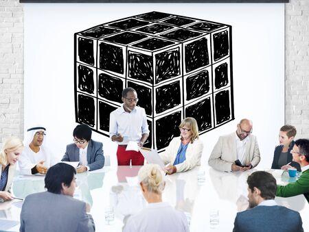 l�gica: Cubo Dado Dimensi�n L�gica Mente Concepto Pensamiento Foto de archivo