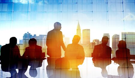 back lit: Back Lit Business People Cityscape Meeting Concept Stock Photo