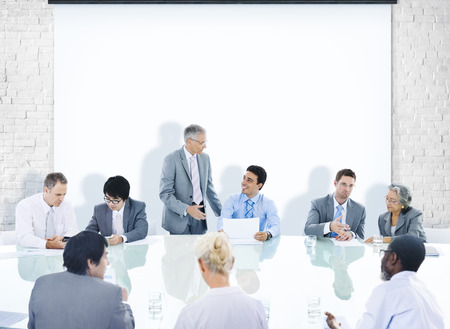 table: Business People Corporate Meeting Presentation Communication Diversity Concept Stock Photo