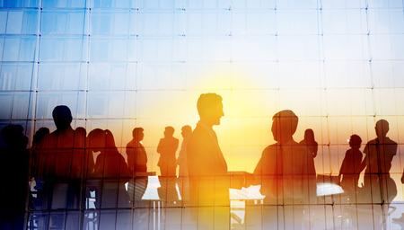 Silhouette Globale Geschäftsleute Treffen Konzept