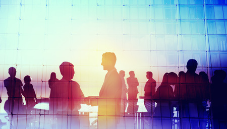 Silhouette Global Business People Meeting Concept Stok Fotoğraf