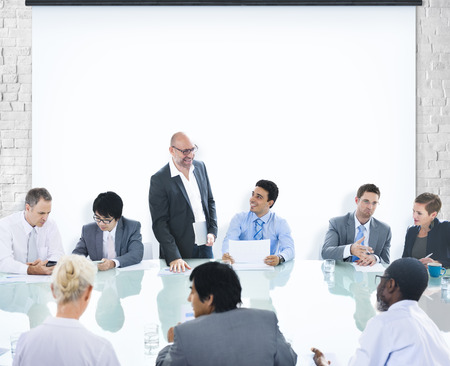 business connections: Business People Conference Meeting Boardroom Leader Concept Stock Photo