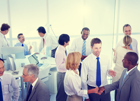 people in office: Business People Conversation Communication Talking Team Concept Stock Photo