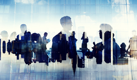 Business People Silhouette Working Cityscape Teamwork Talking Discussion