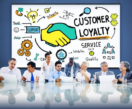 african business people: Customer Loyalty Satisfaction Support Strategy Service Concept
