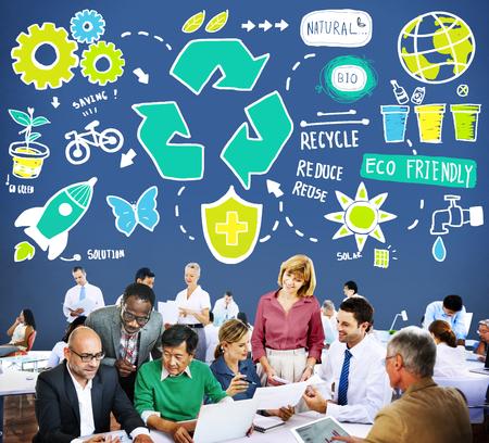 environmental conversation: Recycle Reduce Reuse Eco Friendly Natural Saving Go Green Concept