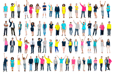 diversity people: Multiethnic Casual People Togetherness Celebration Arms Raised Concept