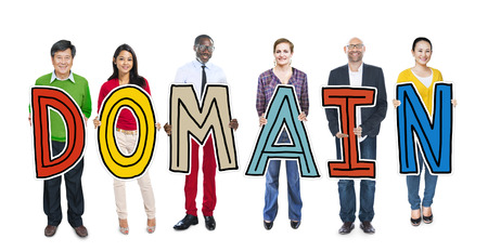 domain: DIverse People Holding Text Domain Stock Photo