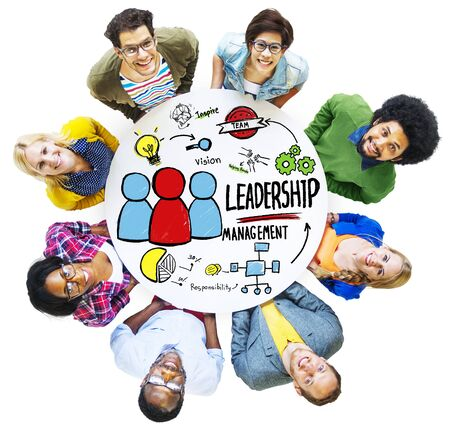 looking up: Diversity People Leadership Management Looking Up Concept Stock Photo