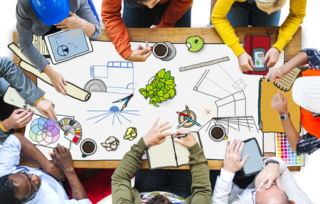 asian business group: Diversity Group Design Team Meeting Brainstorming Concept